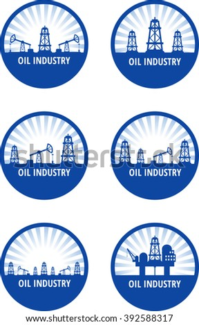 Set of circle emblem of oil industry with blue rays. Eps 10 - stock vector