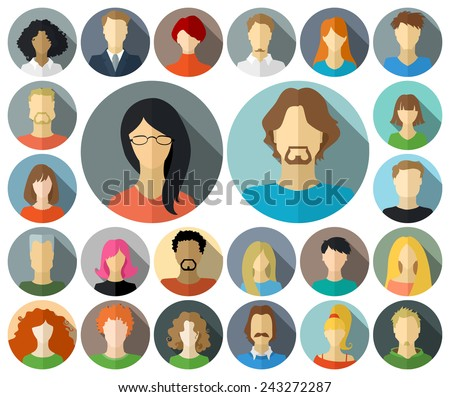 Set of circle icons in flat style with long shadow. Various faces of men and women isolated on white background. - stock vector