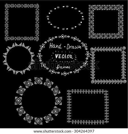 Set of circle polynesian tattoo styled frames on black background - stock vector