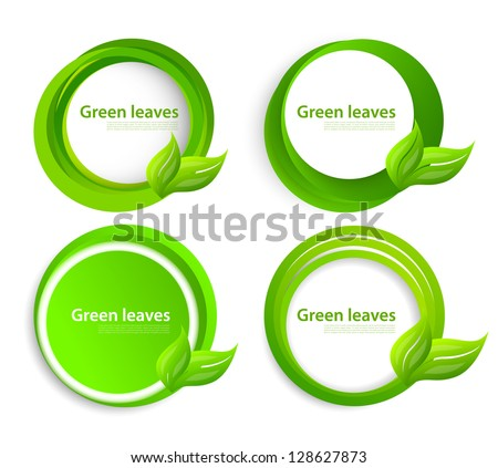 Set of circles with leaves - stock vector
