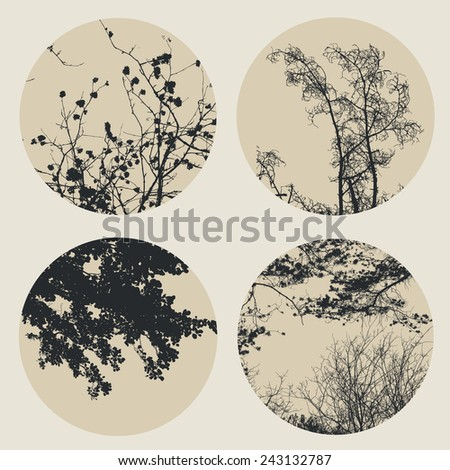Set of circles with trees and branches silhouettes. detailed vector illustration - stock vector