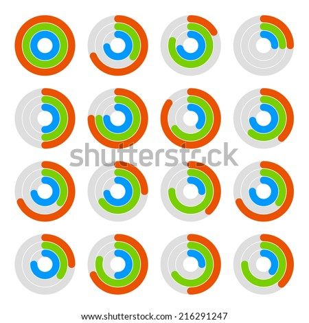Set of Circular Colored Progress Diagram. Vector illustration - stock vector