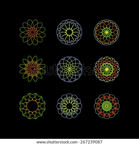 Set of circular spirograph. Pattern for watermarks and certificates. Editable vector illustration - stock vector