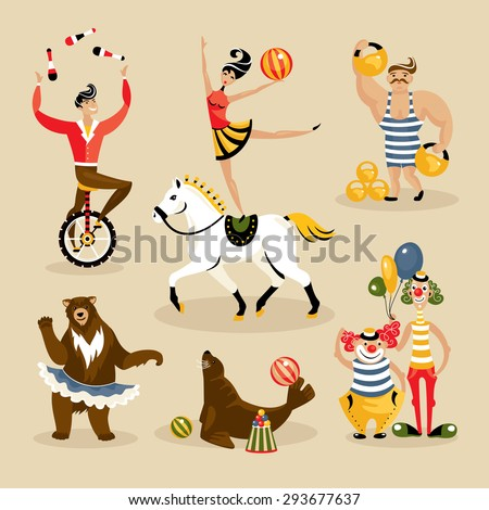 Set of circus characters and animals vector illustration - stock vector