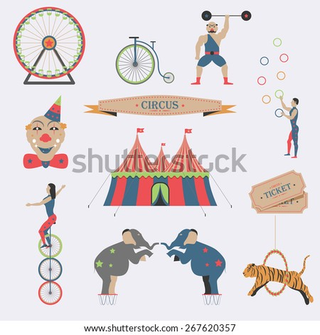 Set of Circus Flat Icons. Vector Illustration. - stock vector