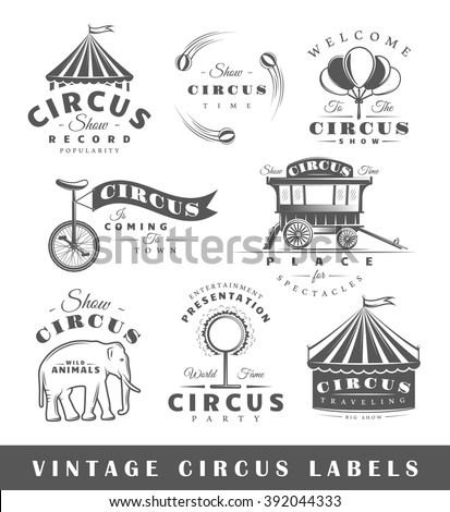 Set of circus labels. Elements for design on the circus theme. Collection of circus symbols: tent, juggler, animals. Modern labels of circus. Emblems and logos of circus. Vector illustration  - stock vector