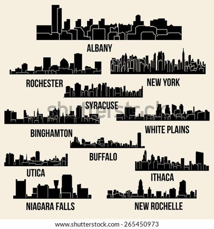 Set of 11 Cities in State of New York (Albany, New York, Buffalo, Ithaca, Syracuse, New Rochelle, White Plains, Rochester, Binghamton, Utica, Niagara Falls) - stock vector