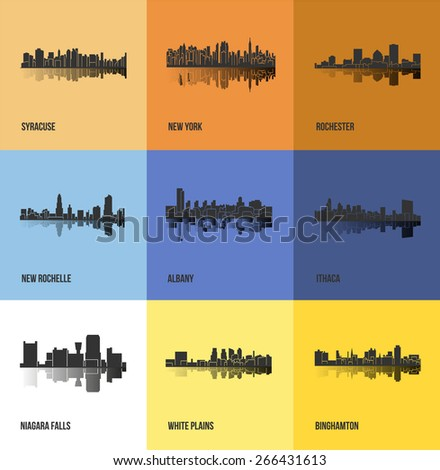 Set of 9 Cities in State of New York (Albany, New York, Ithaca, Syracuse, New Rochelle, White Plains, Rochester, Binghamton, Niagara Falls) - stock vector