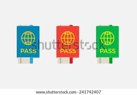 Set of Citizenship or Foreign Passport ID in Vector Colorful Icon can use as Logo Flat Tickets - stock vector