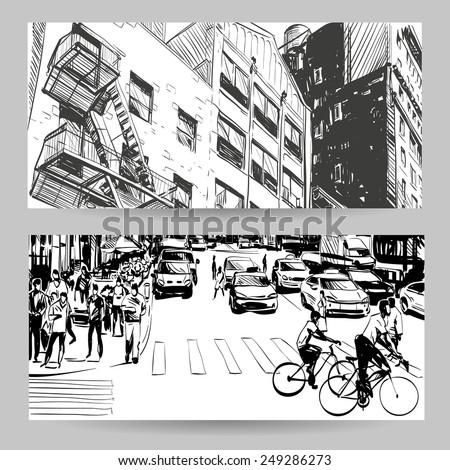 Set of city banner design elements, vector illustration - stock vector