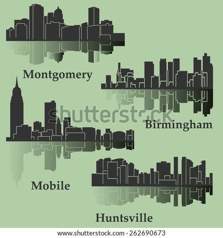 Set of 4 City in Alabama ( Montgomery, Mobile, Huntsville, Birmingham) - stock vector