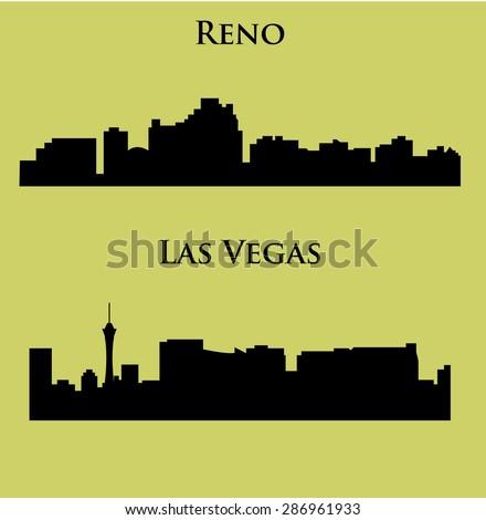 Set of 2 City in Nevada ( Las Vegas, Reno ) - stock vector