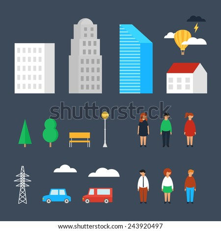 Set of city objects, buildings, people, transport. Vector illustration, urban landscape  - stock vector
