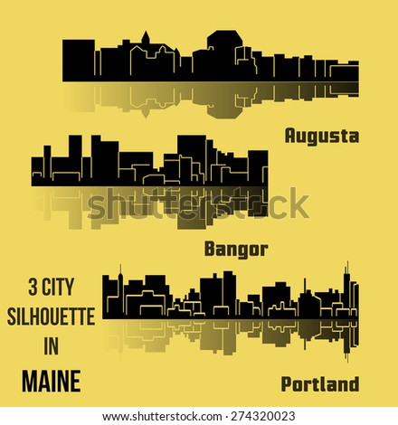 Set of 3 City silhouette in Maine - stock vector