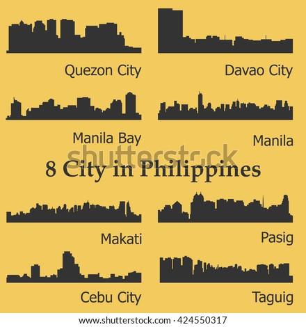 Set of 8 city silhouette in Philippines ( Quezon City, Davao City, Makati, Manila, Pasig, Taguig, Cebu, Manila Bay ) - stock vector