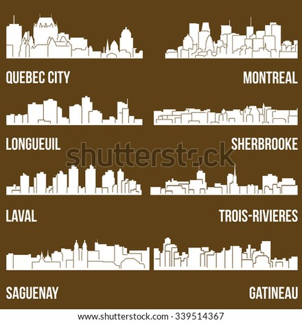 Set of 8 City silhouette in Quebec, Canada ( Quebec City, Montreal, Gateneau, Laval, Saguenay, Trois-Rivieres, Sherbrooke ) - stock vector