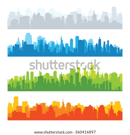 Set of city silhouettes. Cityscape backgrounds - stock vector