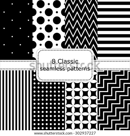 set of 8 classic black - white seamless patterns, polka dot backgrounds, Zigzag, striped, floral, stairs. Vector illustration. - stock vector