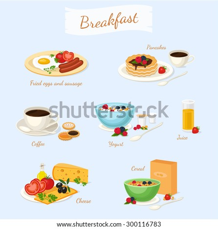 Set of classic breakfast with yogurt cereal fruits coffee cheese vegetables fried eggs sausage pancakes juice. Food icon isolated vector illustration - stock vector
