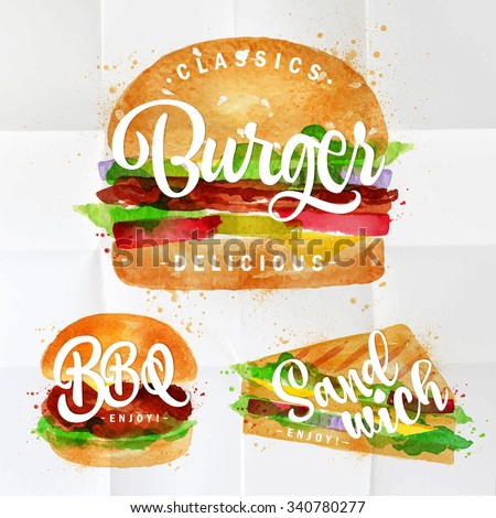 Set of classic burger, bbq burger and sandwich drawing with color paint on crumpled paper. - stock vector