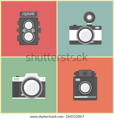set of classic camera, flat, pastel style - stock vector