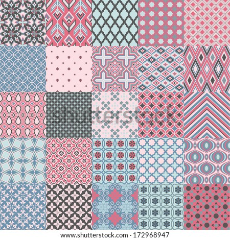 Set of classic geometric patterns in delicate colors - stock vector