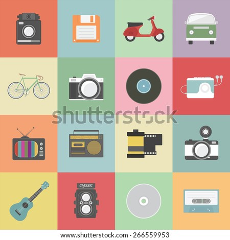 set of classic icon, hipster gadget, vecter illustration - stock vector