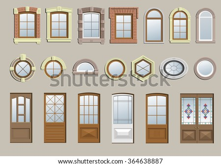 Set of classic windows - stock vector