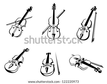 Set of classical musical violins instruments in silhouette style, such as emblem. Jpeg version also available in gallery - stock vector