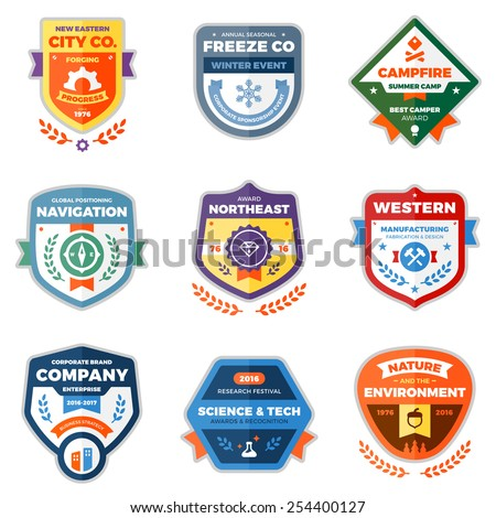 Set of clean modern logo badges and award graphics - stock vector