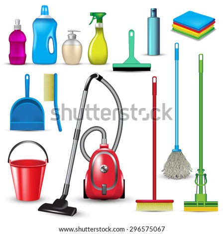 Set of cleaning tools isolated on white. Vector illustration - stock vector