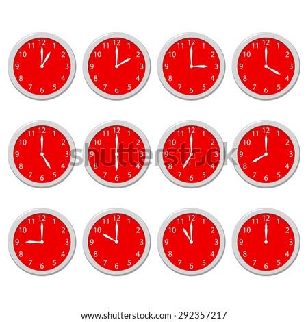 Set of clocks - stock vector