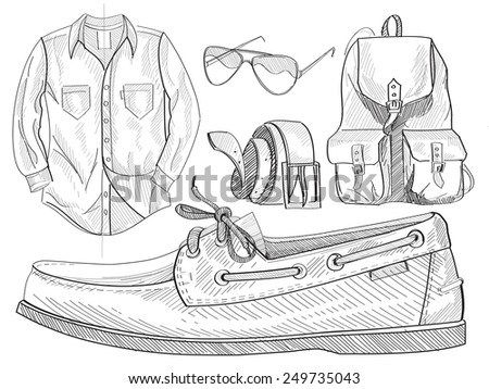 set of clothes, bag,glasses and shoes for everyday - stock vector