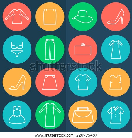 Set of clothes icons in the color circles on dark background. - stock vector
