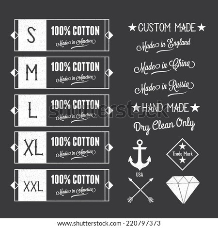Set of Clothing Labels with Design Elements in a Vintage Style. Vector Illustration  - stock vector