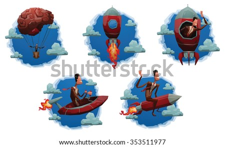 Set of cloud labels with cartoon business men who starting a start up. Someone do it on a rocket. Someone flying on a spaceship. Someone go up on a brain balloon. vector illustrations - stock vector