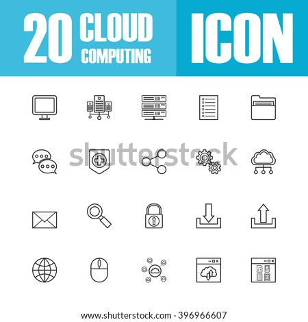set of cloud outline icon, isolated on white background - stock vector