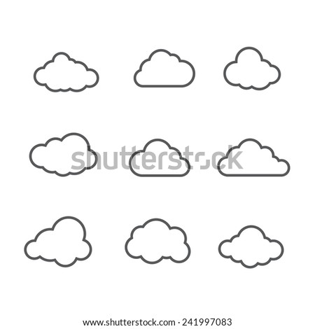Set of Cloud Thin Icons - stock vector