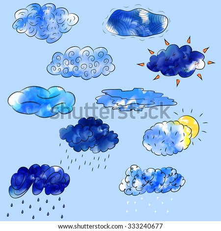 Set of clouds. Rain, snow, sun, thunder. Digital watercolor. Isolated on bright blue background. Vector illustration. - stock vector