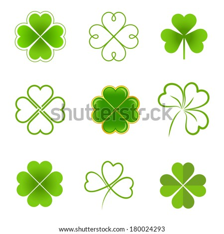 Set of clovers with four and three leaves - stock vector