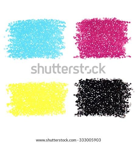 Set of CMYK dotted spots - stock vector