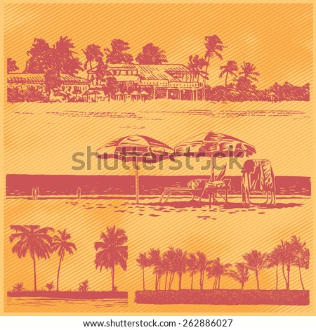 set of coastlines with silhouettes of palms trees and beach. drawing style. vector illustration - stock vector