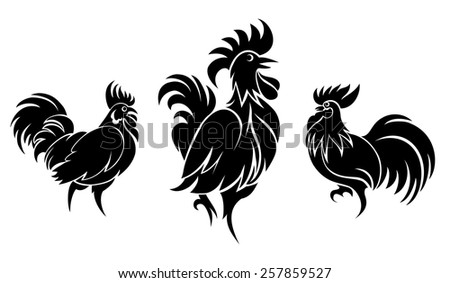 Set of cocks silhouettes for logo or tattoo. Animal and bird. Vector illustration - stock vector