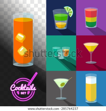 Set of cocktails in transparent glasses with neon label - stock vector
