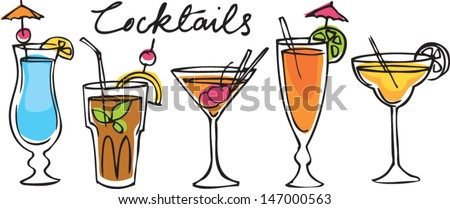 Set of cocktails vector illustration - stock vector