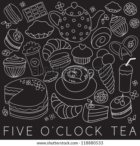 Set of coffee and tea design elements in blue color style - stock vector