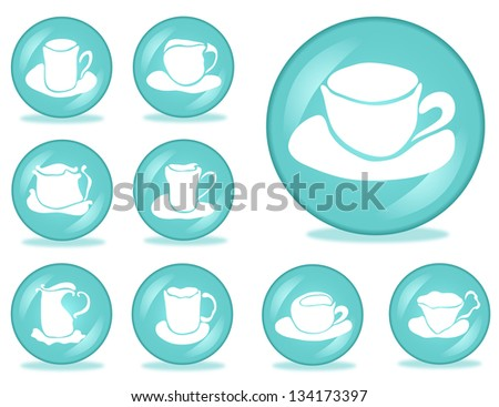 set of 9 coffee buttons for your design - stock vector