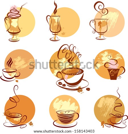 Set of coffee cups icons, stylized sketch symbols for restaurant or cafe menu. - stock vector