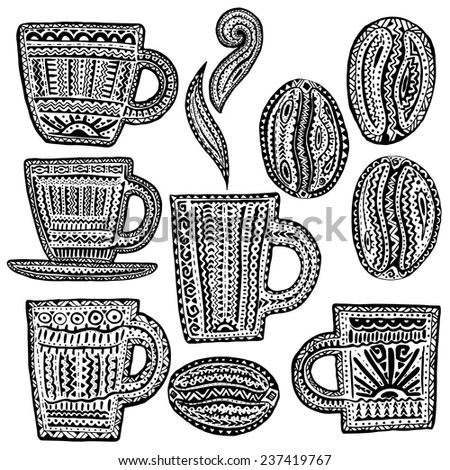 Set of Coffee Design Element in Ethnic Style. - stock vector