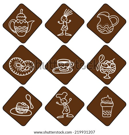 Set of coffee dessert tea icon. Cake, pastry, ice cream, cook, hipster girl, cup, tea pot illustration. Vector. Line art. White on brown.For coffee shop, canteen, as label, sticker, design elements. - stock vector